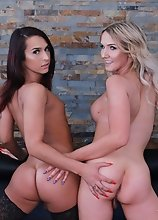 Two of the hottest trans superstars around in the same scene here! Watch Khloe Kay and Kayleigh Coxx trade blowing this dude, back and forth, and then