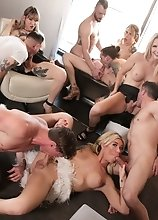 Blonde TS superstar Aubrey Kate's transsexual dream team - Casey Kisses, Lena Kelly and Kayleigh Coxx - in hardcore trans orgy!