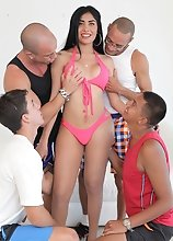 "This beauty loves getting her ass-hole pounded and stretched. Taiira Navarrete is back in ""Taiira Navarrete's First Gangbang"""