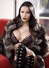 Hot TS Kimberlee in Fur Gets Hot and Horny and Jerks Off Her Thick Cock on a Red Chair