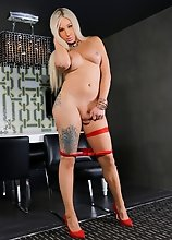 Latina tgirl Safari Star can't wait to show off her big boobs and her amazing thick booty! Watch her posing, stripping and stroking her cock!