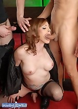 Horny Jasmine Jewels getting fucked by two hot studs