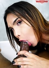 Big cock shemale Kalliny Nomura sucking and riding cock in this POV hardcore scene!