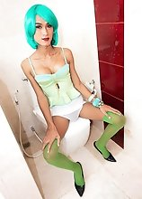 Ladyboy Creamy - Green Hair and Bred for Pleasure